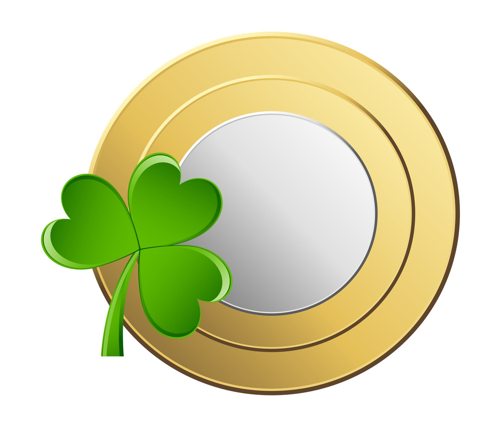 Shiny Golden Silver Coin With Clover Vector