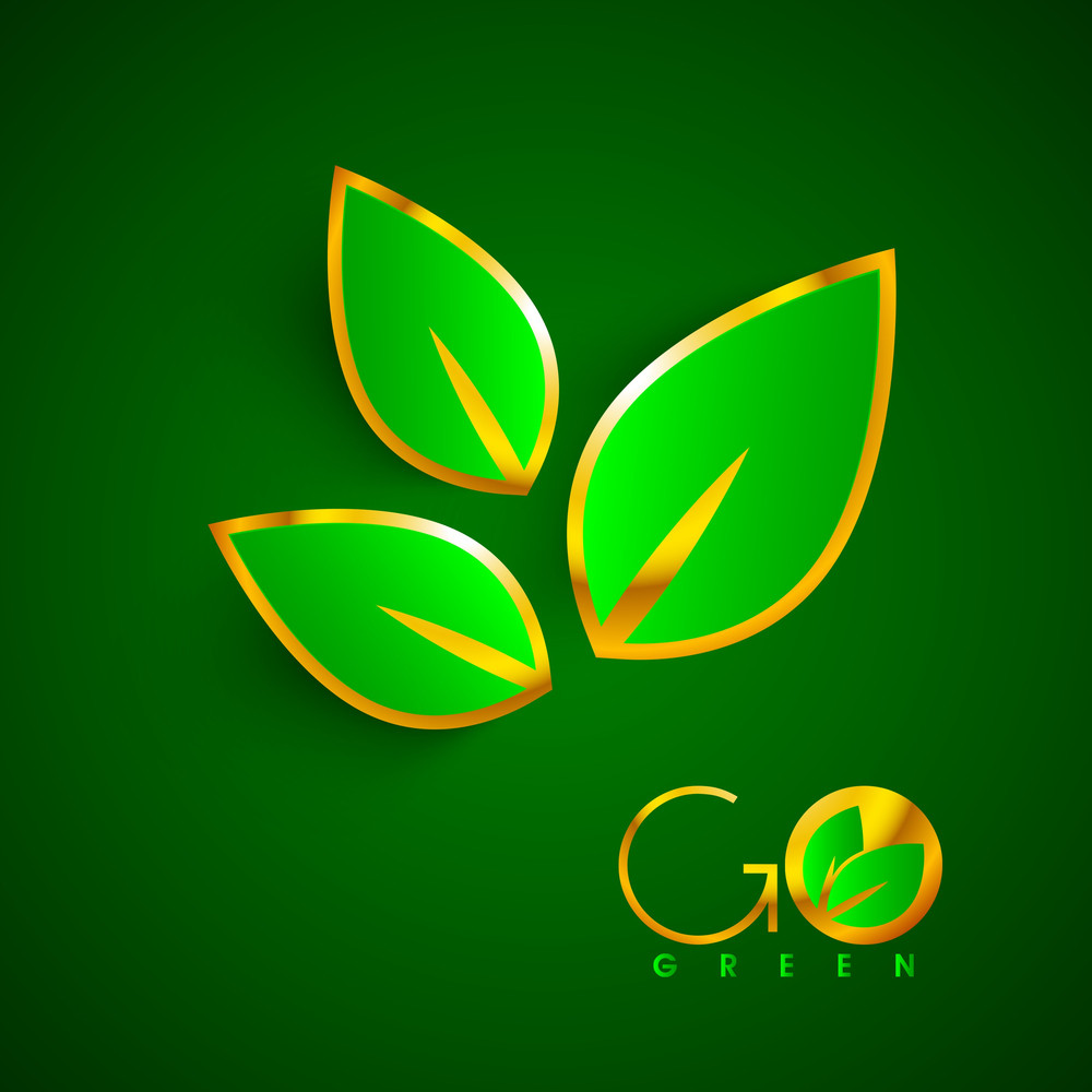 Shiny Green And Golden Leaves With Text Go Green