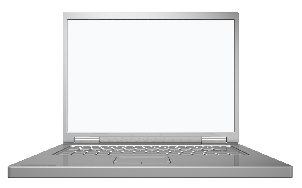 Shiny Grey Laptop Isolated On White