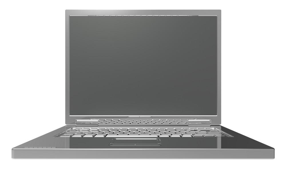 Shiny Grey Laptop Isolated On White