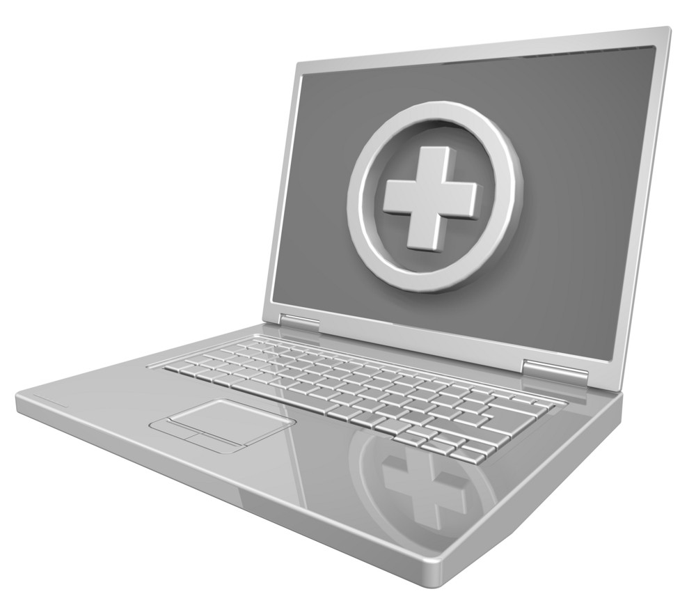 Shiny Grey Laptop With Cross Sign Isolated On White.