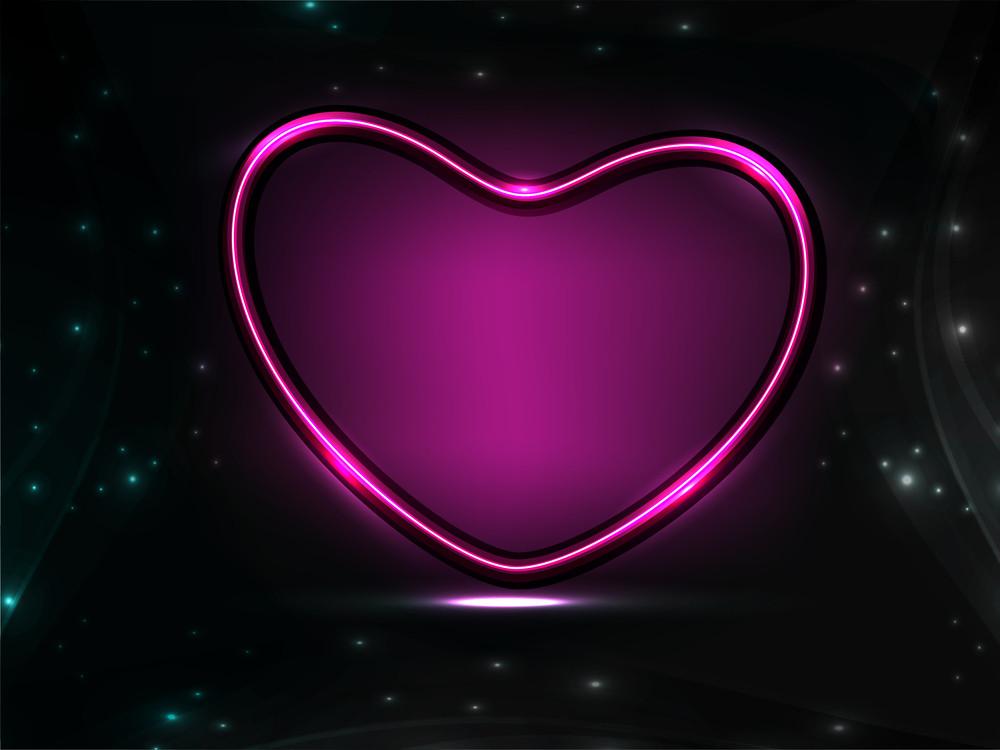 Shiny Heart Shape In Purple Color.
