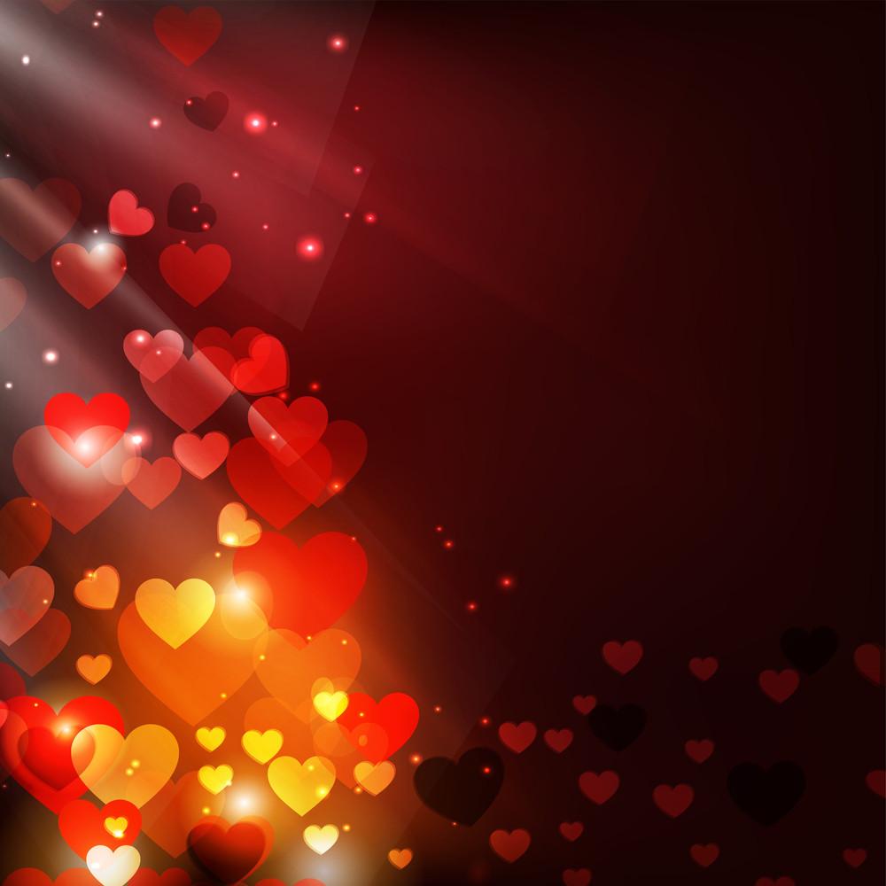 Shiny Hearts Bokeh Light Valentine's Day Background. Eps 10