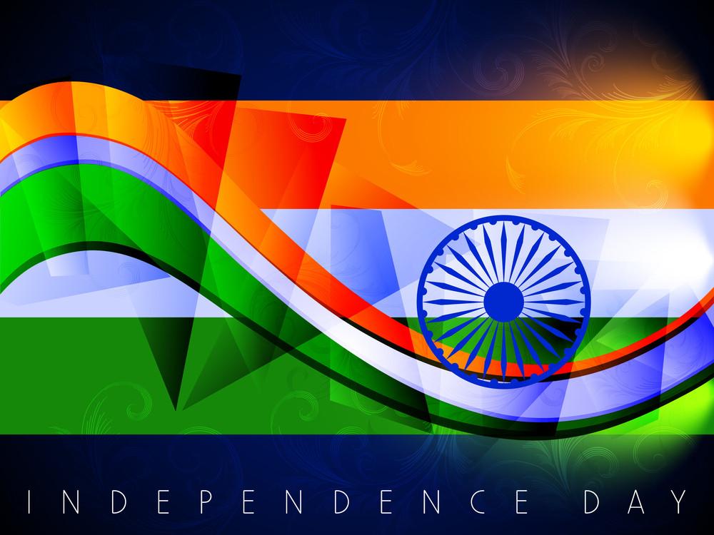 Shiny Indian Flag Wave Background.
