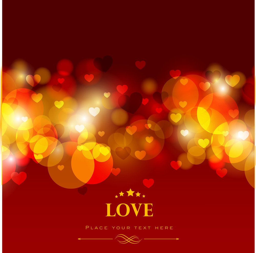 Shiny Love Background With Red Hearts