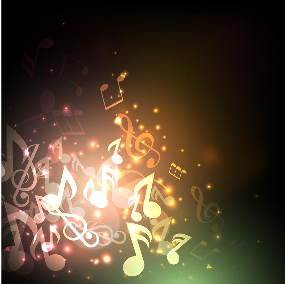 Shiny Musical Notes Background