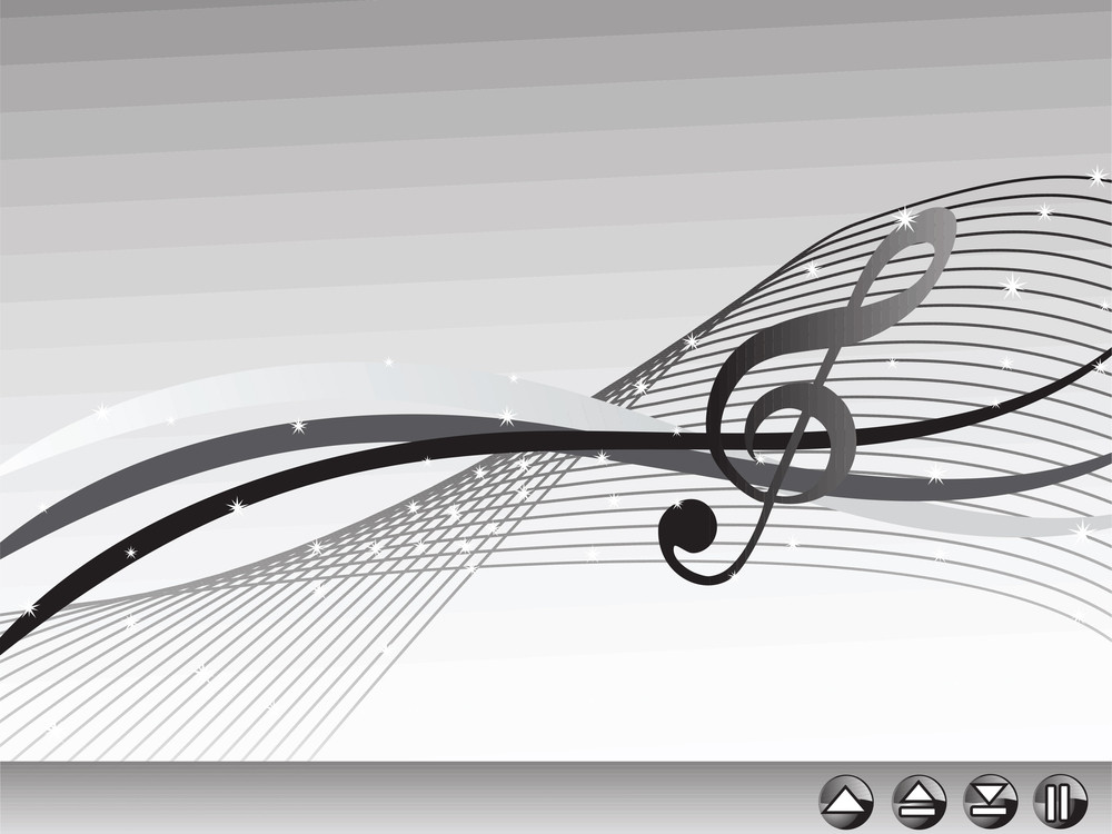 Shiny Musical Waves On Gray Background