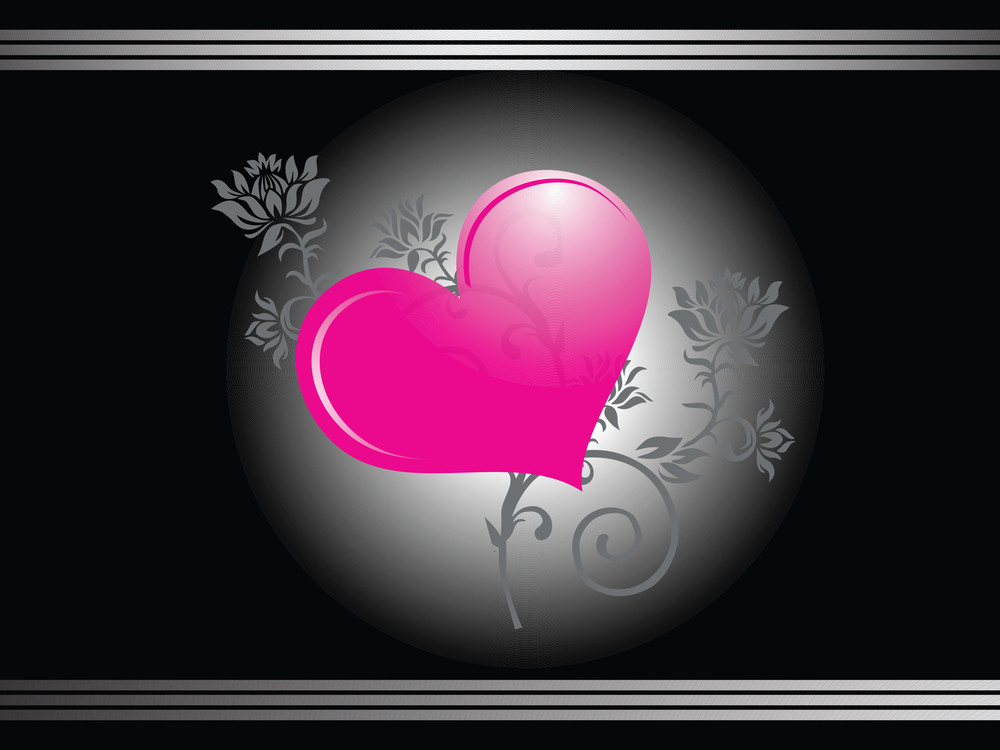 Shiny Pink Heart On Floral Background