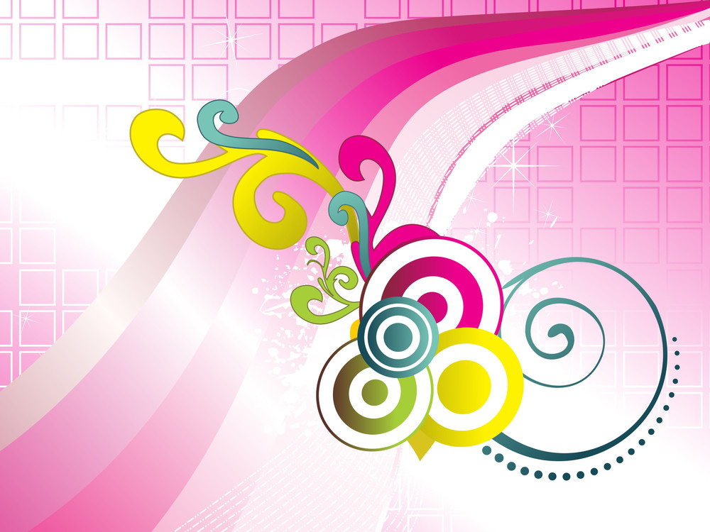 Shiny Pink Stripes With Colorful Creative Artwork