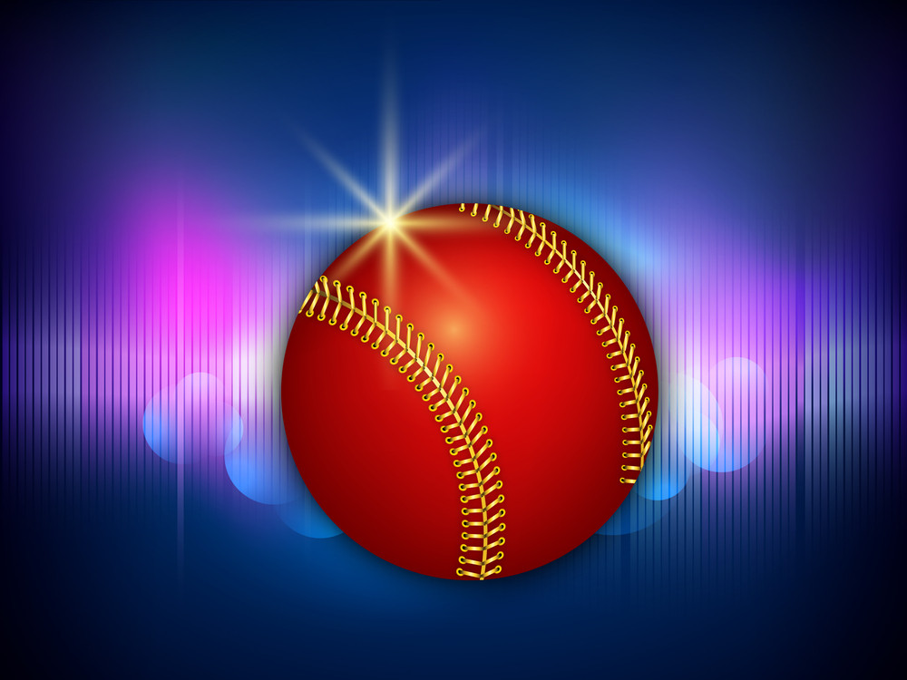 Shiny Red Cricket Ball On Blue Background.