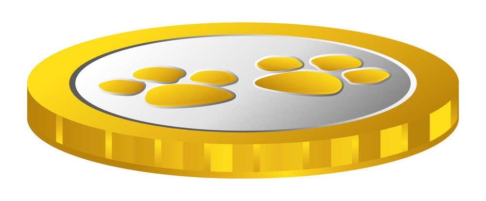 Shiny Retro Paw Coin Vector