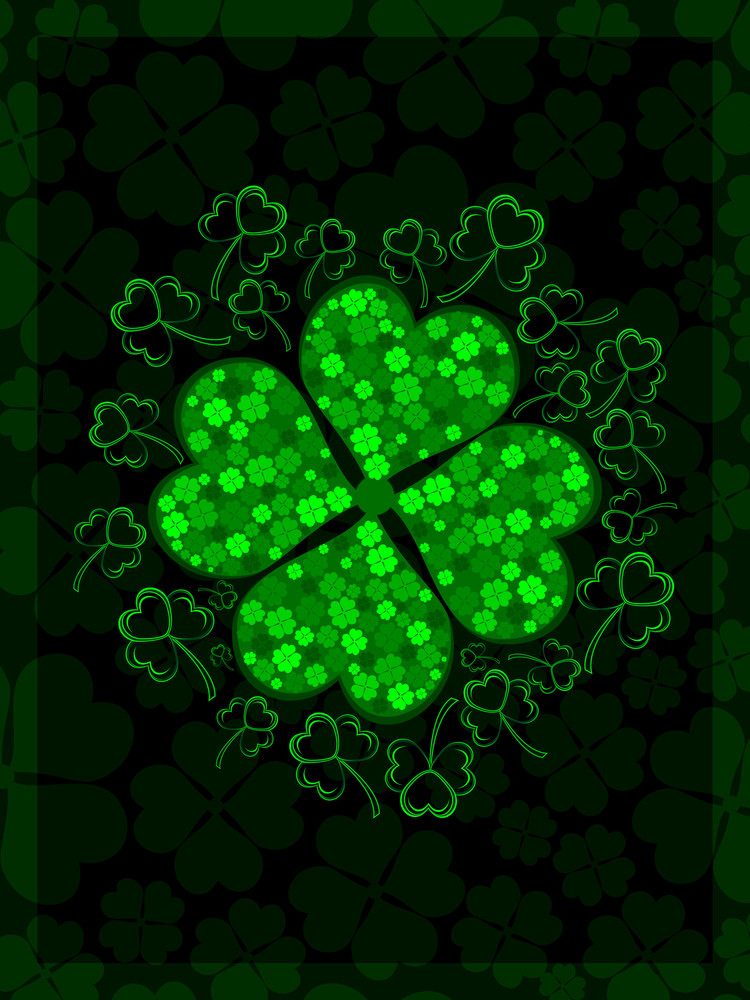 Shiny Shamrocks Leaf With The Beautiful Background For St. Patrick's Day. Vector.