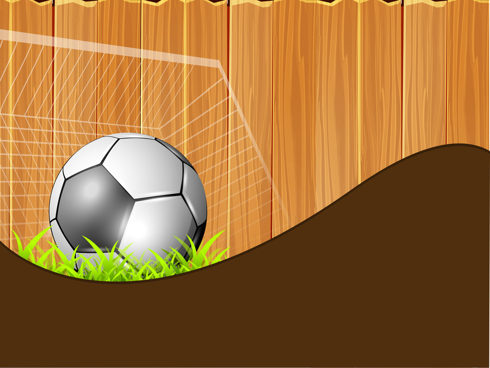 Shiny Soccer Ball In Goal Post On On Wooden Background With Space For Your Message.