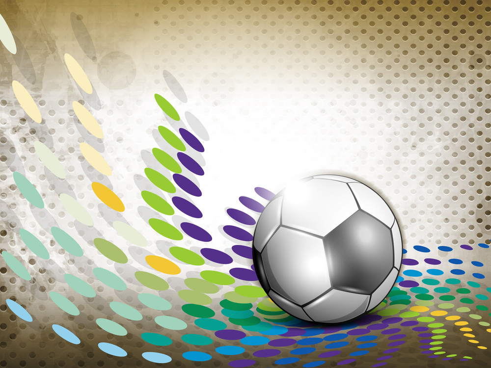 Shiny Soccer Ball On Grungy Colorful Background And Space For Your Message.