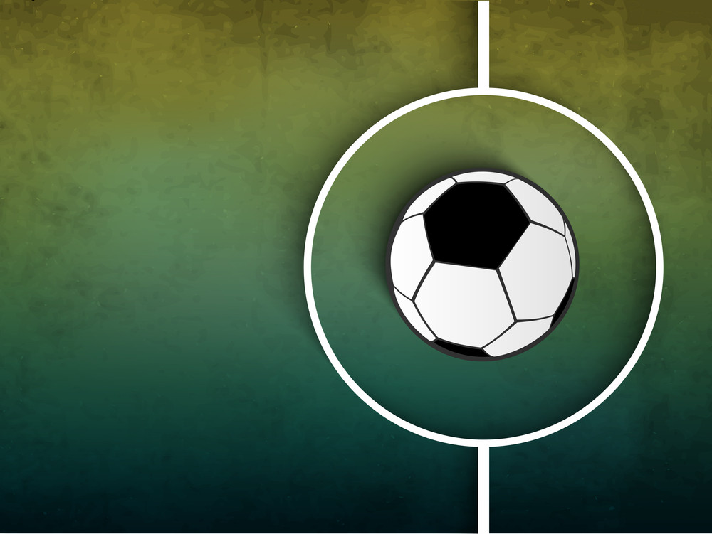 Shiny Soccer Ball On Grungy Green Background.