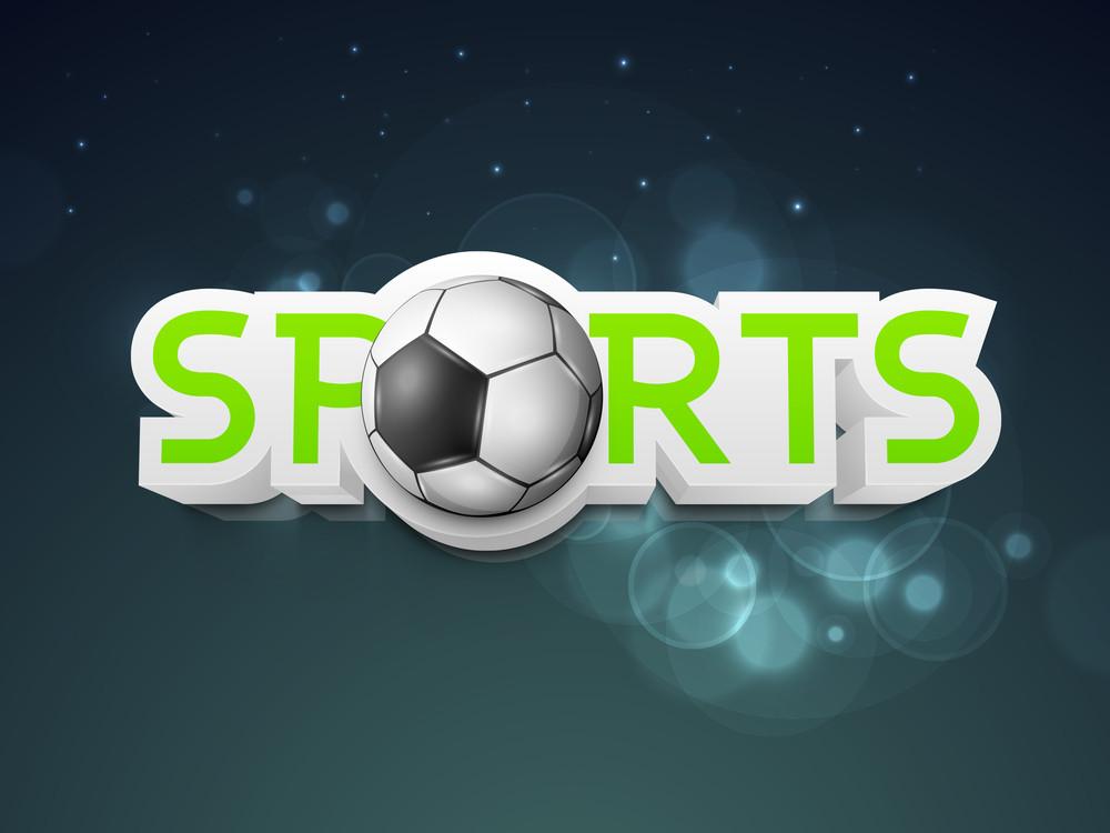 Shiny Soccer Ball With Stylish Tewxt Sport  Shiny Blue Background.
