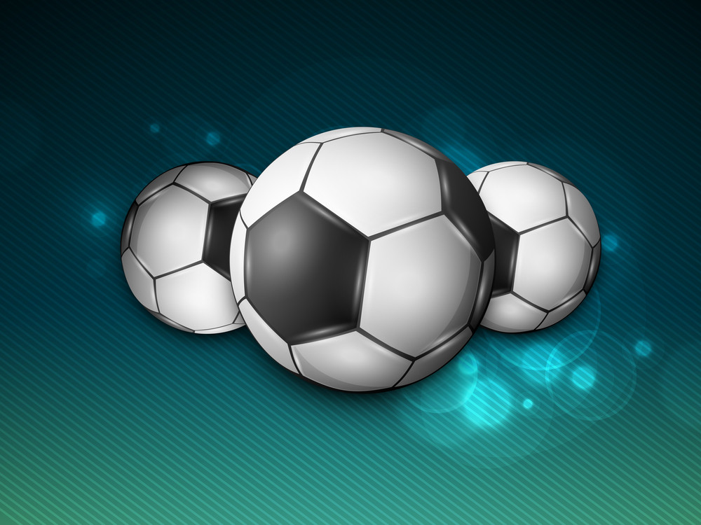 Shiny Soccer Balls On Blue Background.