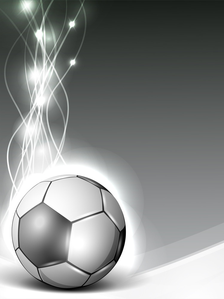 Shiny Soccerball Or Football On Shiny Wave Background.