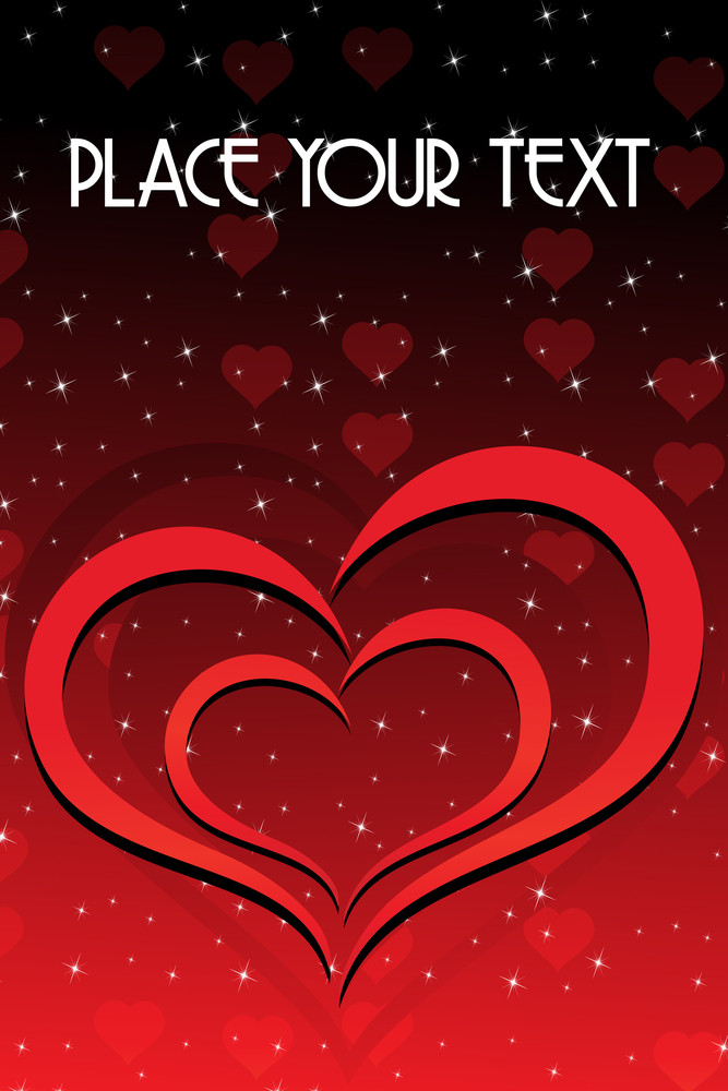 Shiny Star Background With Romantic Heart