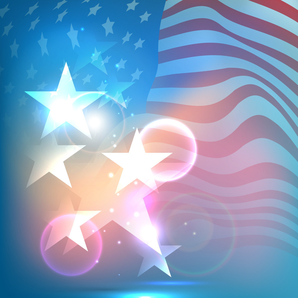 Shiny Stars On Waving American Flag