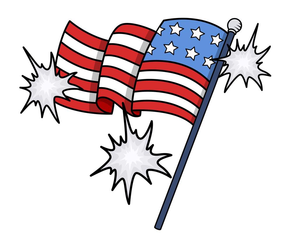 Shiny Usa Flag Vector Clip-art 4th Of July Celebration