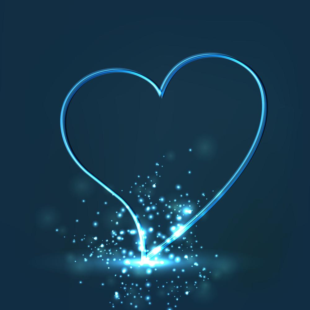 Shiny Valentine Heart On Blue Background.