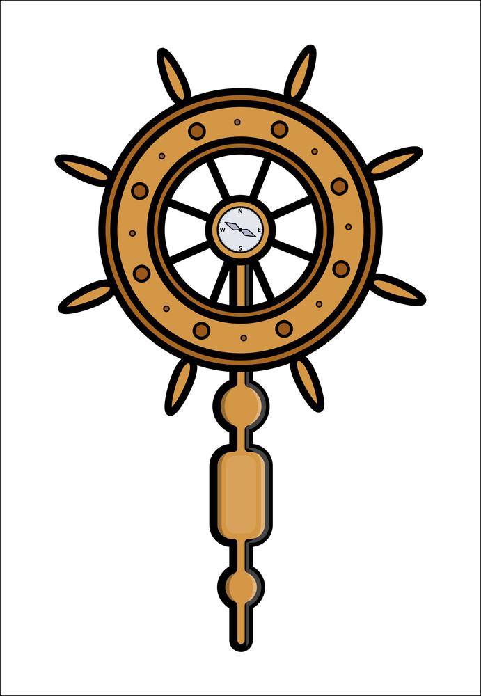 Ship Wheel Controller - Vector Illustration