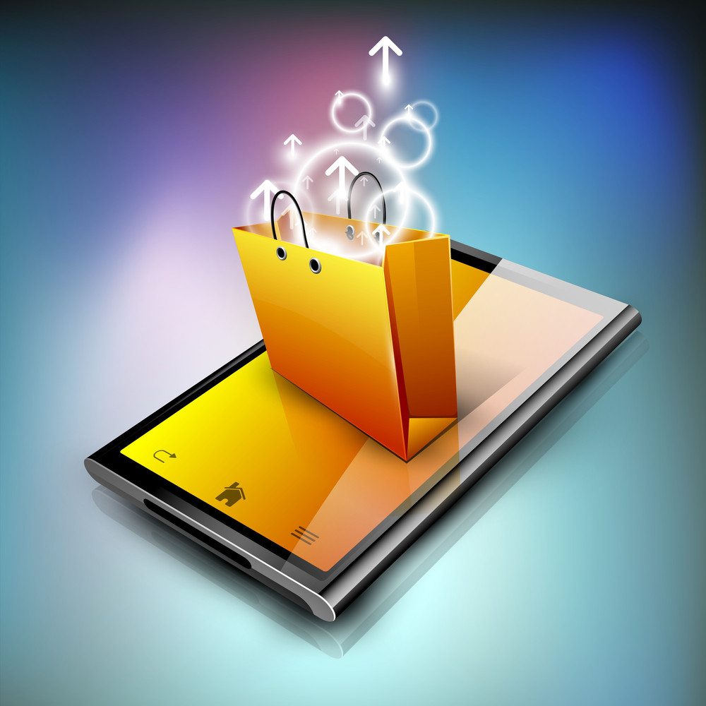 Shopping Bag On A Tablet