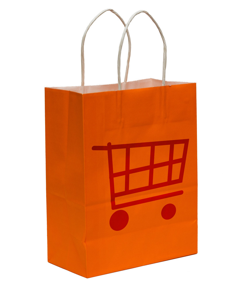 Shopping Bag With Shopping Cart Symbol
