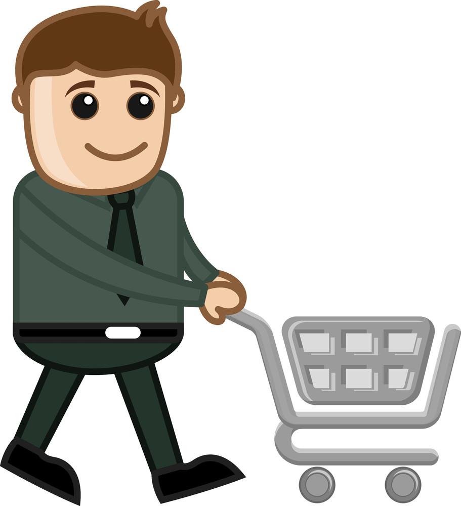 Shopping Cart - Cartoon Vector