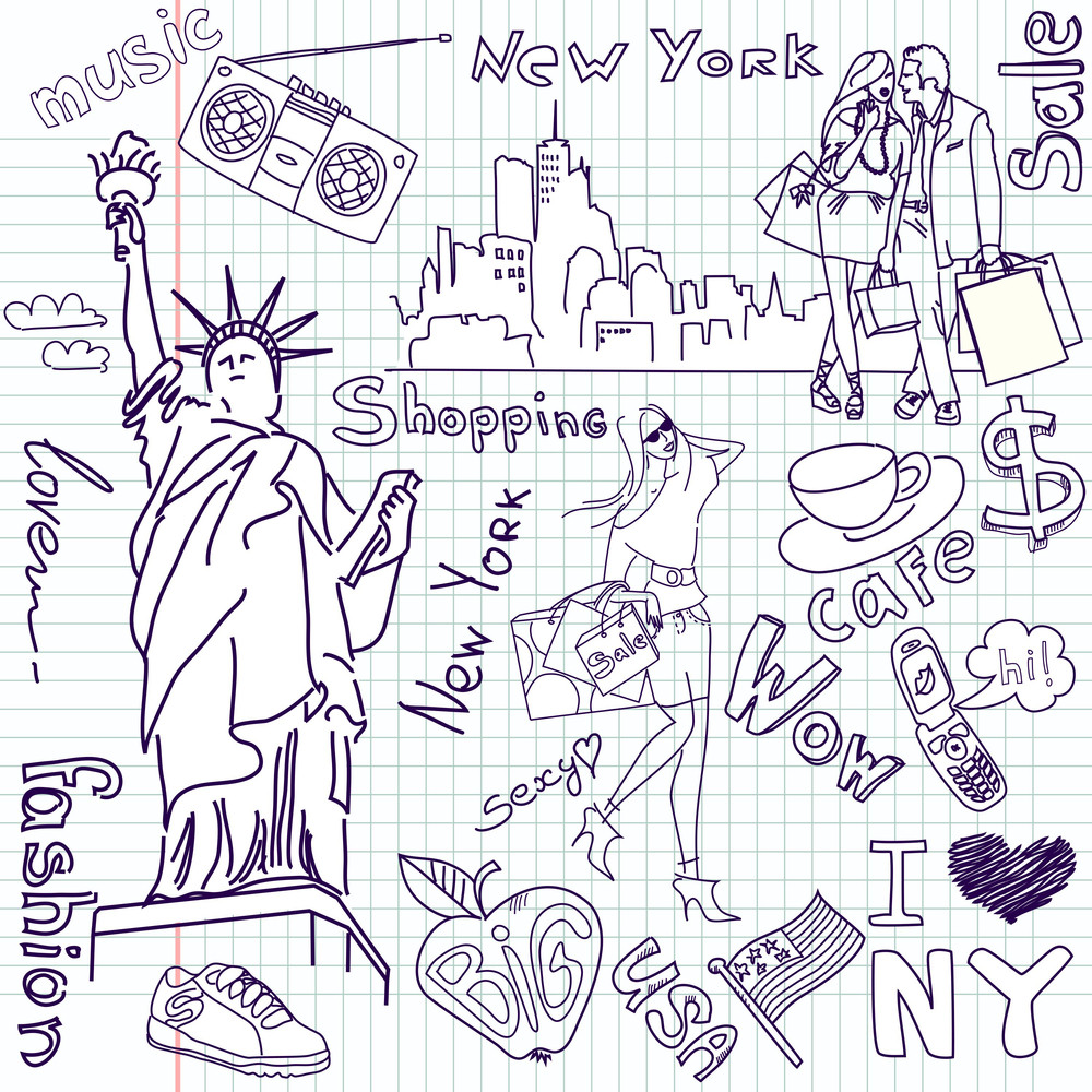 Shopping In New York Doodles