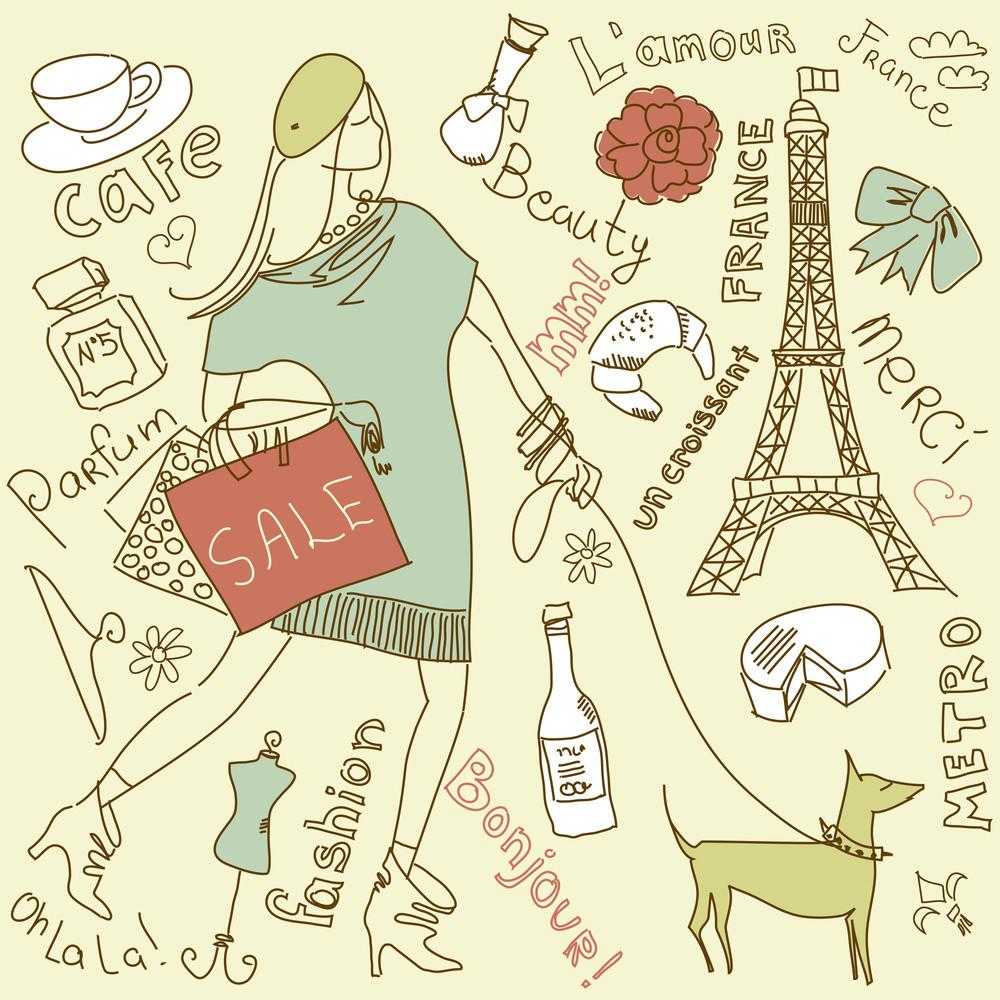 Shopping In Paris Doodles