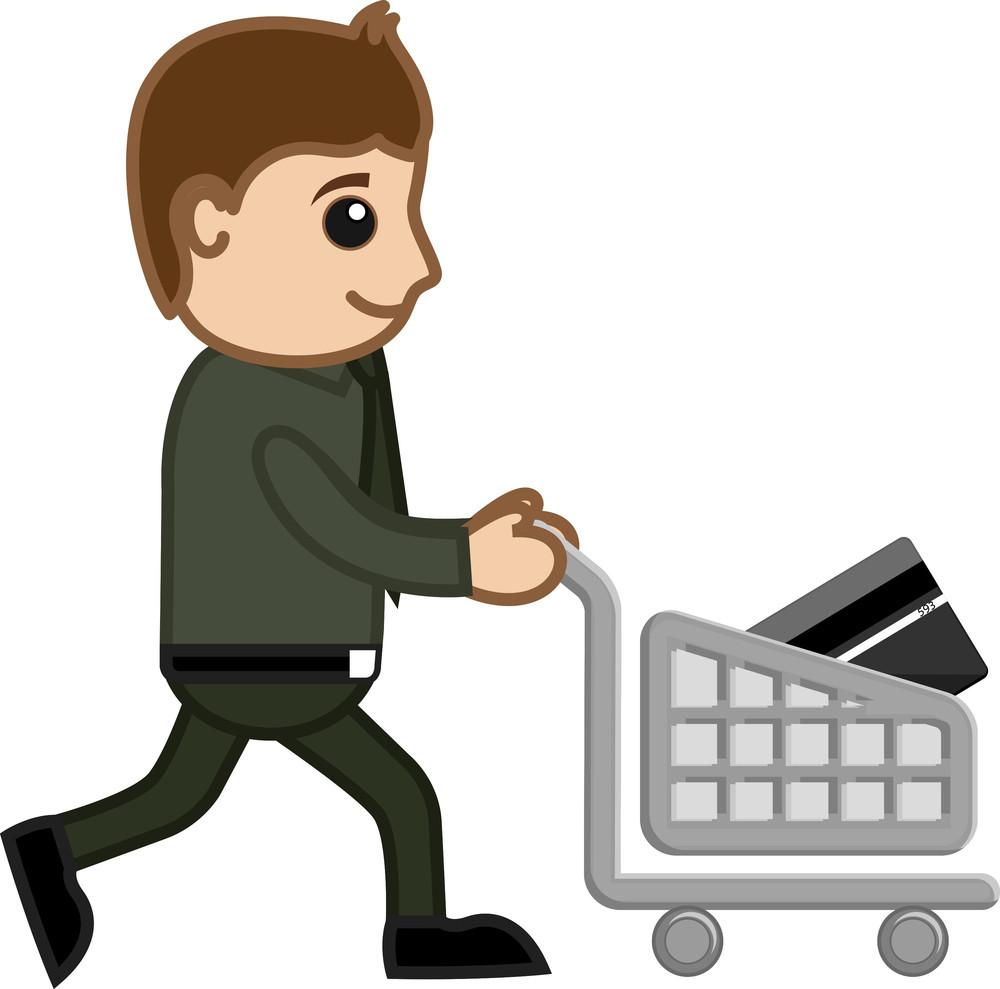 Shopping With Plastic Money - Cartoon Vector