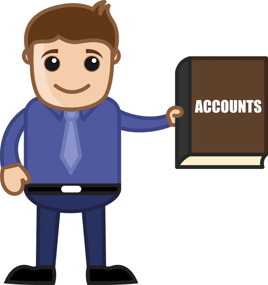 Showing Accounts Book - Business Cartoon