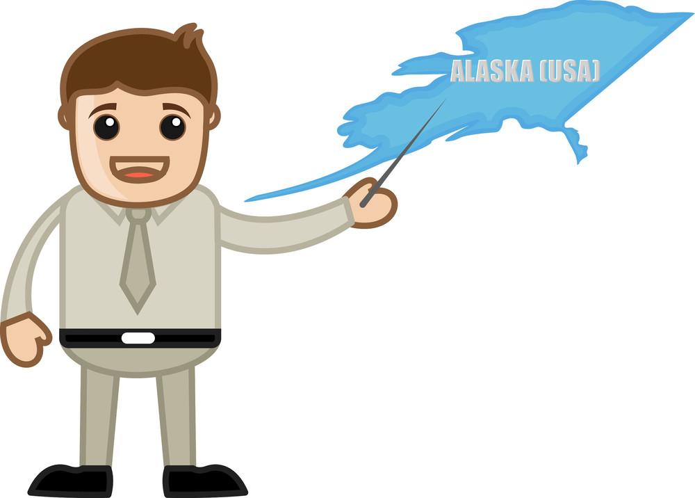 Showing Alaska Map - Business Office Cartoon Character