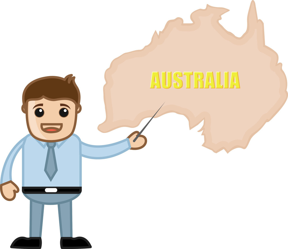 Showing Australia Map - Business Office Cartoon Character