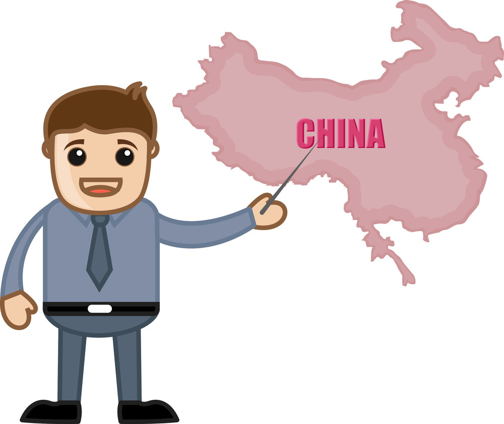 Showing China Map - Business Office Cartoon Character