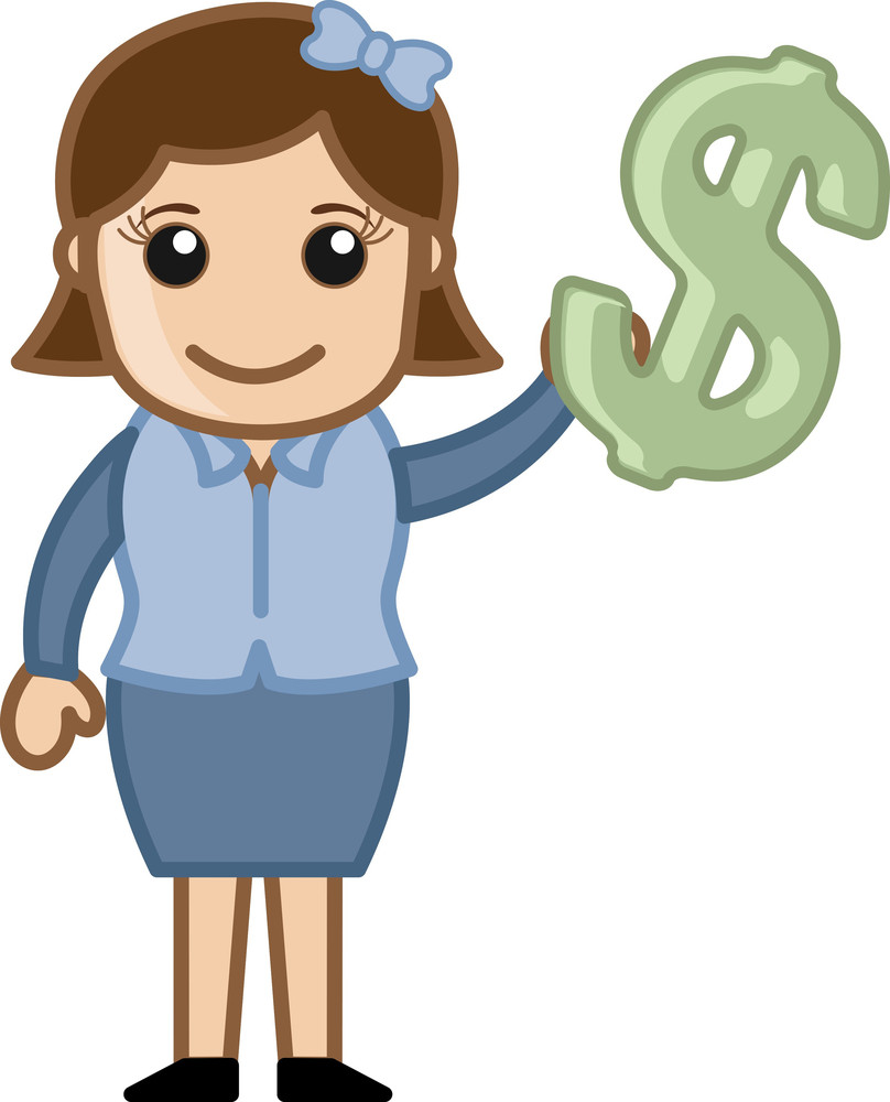 Showing Dollar Sign - Vector Illustration