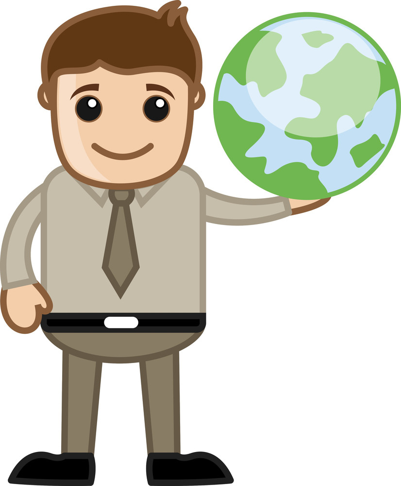 Showing Earth - Business Office Cartoon Character