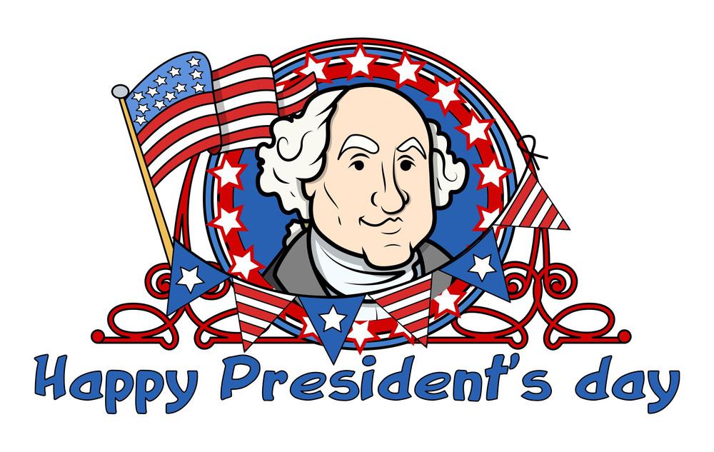 Showing George Washington On Presidents Day Vector Illustration