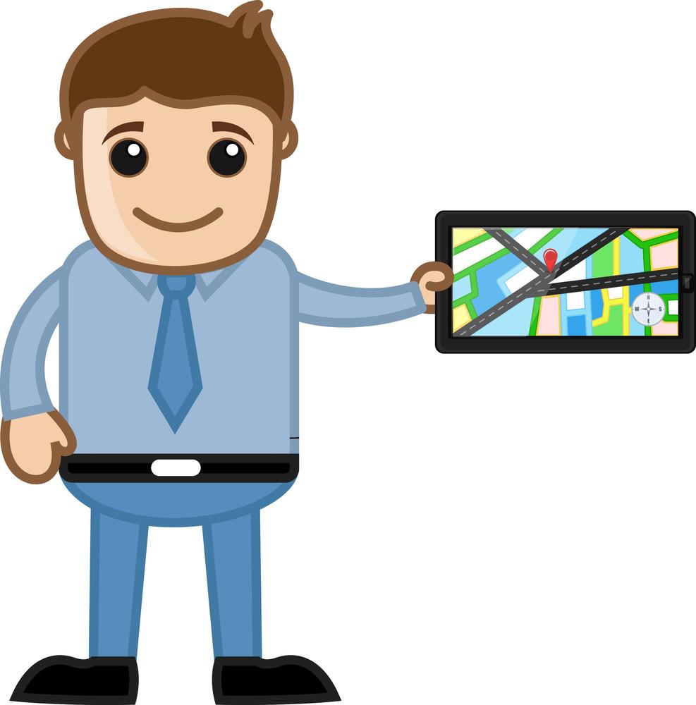 Showing Gps Navigation System - Cartoon Vector Man