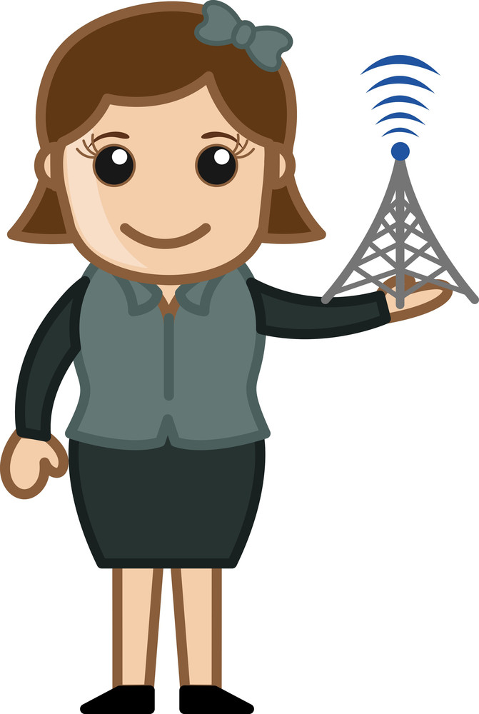 Showing Mobile Tower Signal Strength - Business Cartoons Vectors
