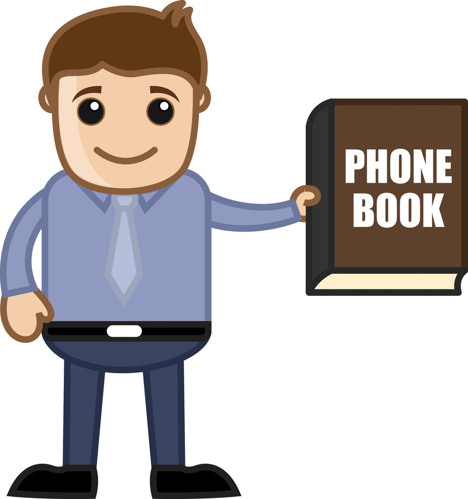 Showing Phone Book Directory - Business Cartoon