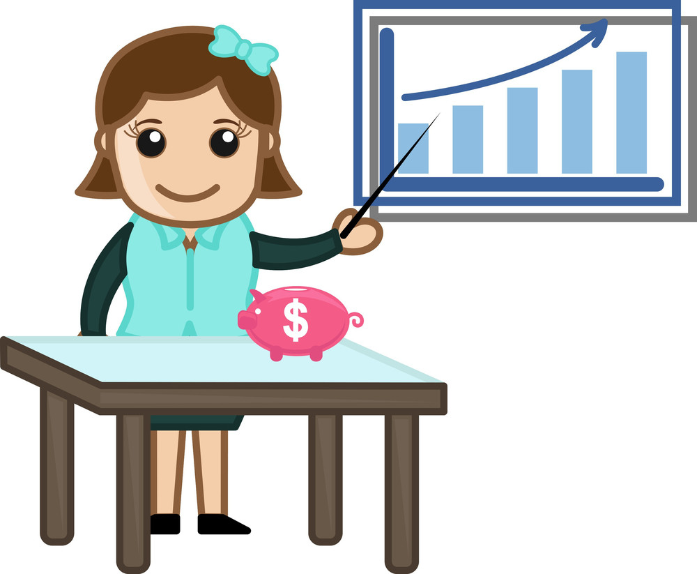Showing Saving And Investing Graph - Cartoon Bussiness Vector Illustrations