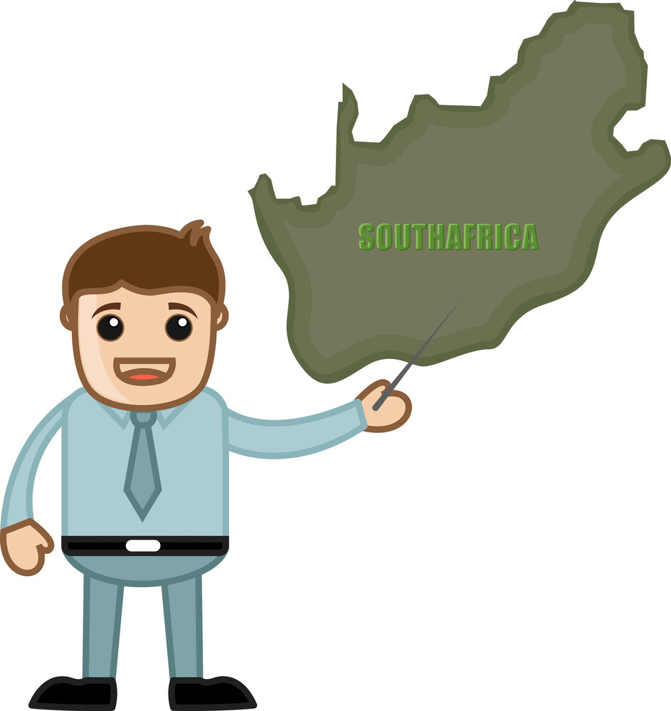 Showing South Africa Map - Business Office Cartoon Character