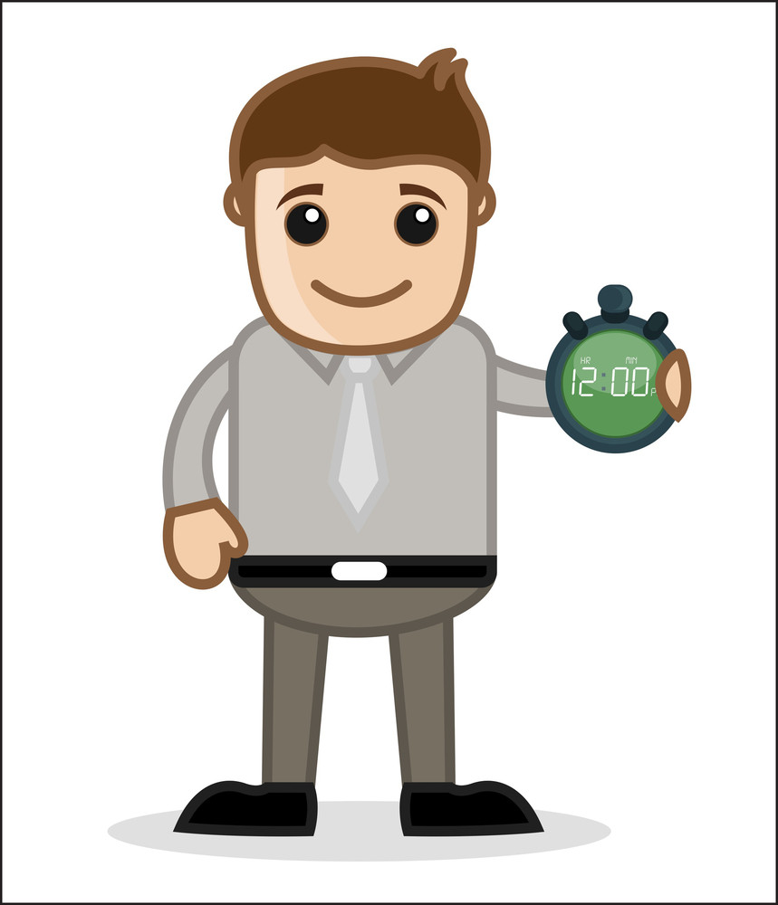 Showing Time - Office And Business People Cartoon Character Vector Illustration Concept