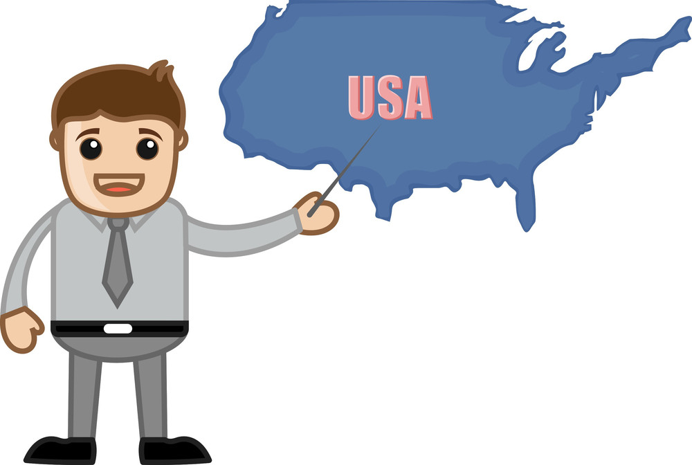 Showing Usa Map - Business Office Cartoon Character