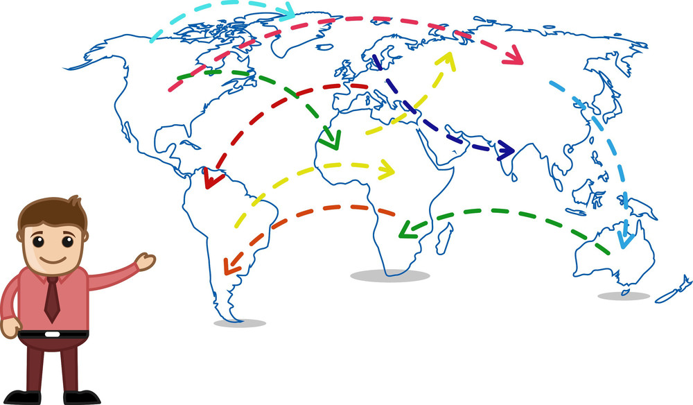 Showing World Map - Business Office Cartoon Character