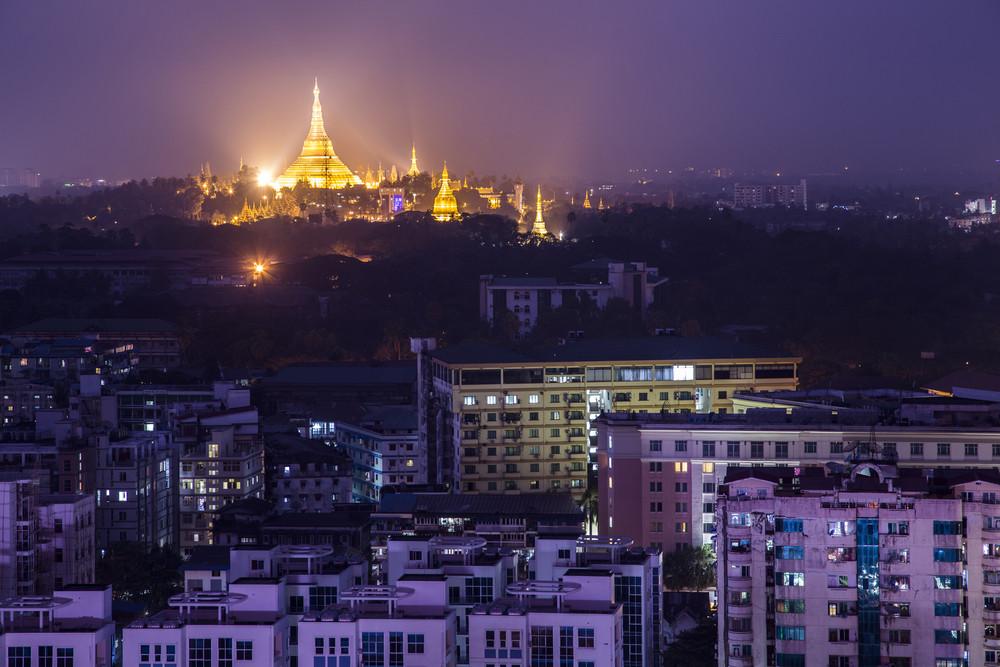 Shwedagon Pagoda Temple beautiful sunset in Yangon, Myanmar or Burma