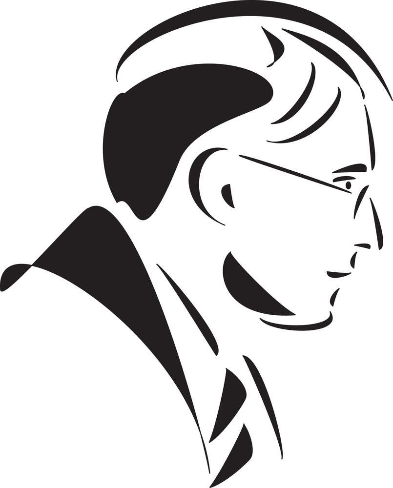 Side Pose Of A Jewish Man's Face.